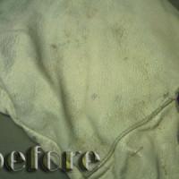 布と革のコンビジャンパーの染み抜きとカビ取り