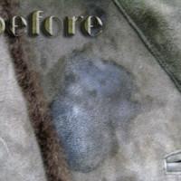 毛皮付きスエードコートの修復・染み抜き