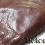 革バッグ、内側からの染み出したシミ