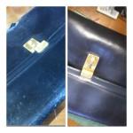 劣化した革セカンドバッグの穴あき修復