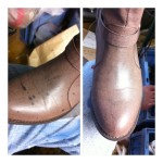 ブーツの染み抜き