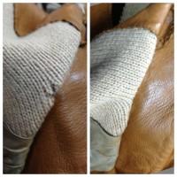 革ジャンパーの襟元のホツレ修理