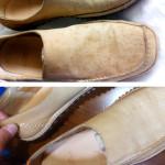 靴の何かわからないシミの修復