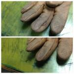 手袋のほつれ直しと汚れ直し