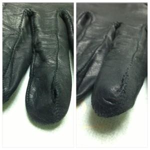 手袋 指先 ホツレ