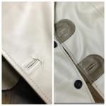革コートのボタンホール周り切れてしまった部分のデザインリメイク