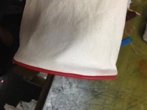 Courreges クレージュ キャンバスバッグ 底芯替えと色移り直し2